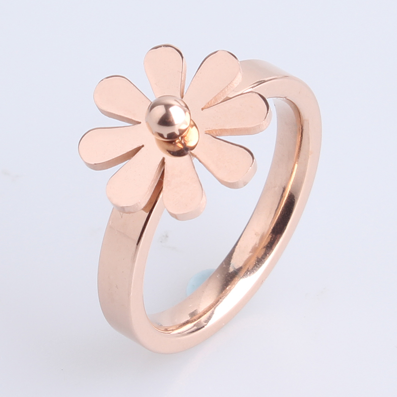 free shipping Rose Gold Flower 316L Stainless Steel finger rings for women men wholesale