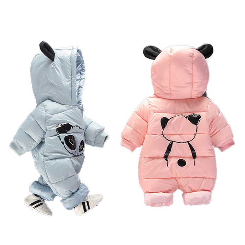Newborn Hooded Winter Baby Rompers Panda Baby Boy Romper Cotton Toddler Baby Clothes Jumpsuit Outwear Warm Baby Boys Jumpsuits 2017 infant romper baby boys cute panda rompers girls jumpsuit new born bebe clothing hooded toddler baby clothes baby costumes