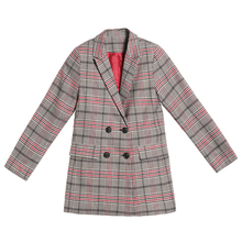 Yingaoxuefei 2018 Spring Women's Double Breasted Plaid Cardigan New Casual Spring Loose Long Spring Windbreaker