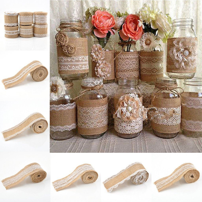 2016 2M Vintage Jute Burlap Hessian Ribbon Roll with Lace