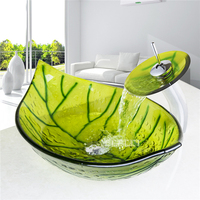 HS9006 1 Countertop Sink Hand painted Tempered Glass Art Basin High quality Artistic Wash Basin Bathroom Washbasin With Faucet