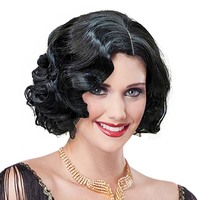 Adult Ladies 1920s Vintage Short Curly Flapper Girl Headwear Wavy Hair Cosplay Womens Halloween Fancy Dress Costume Accessories