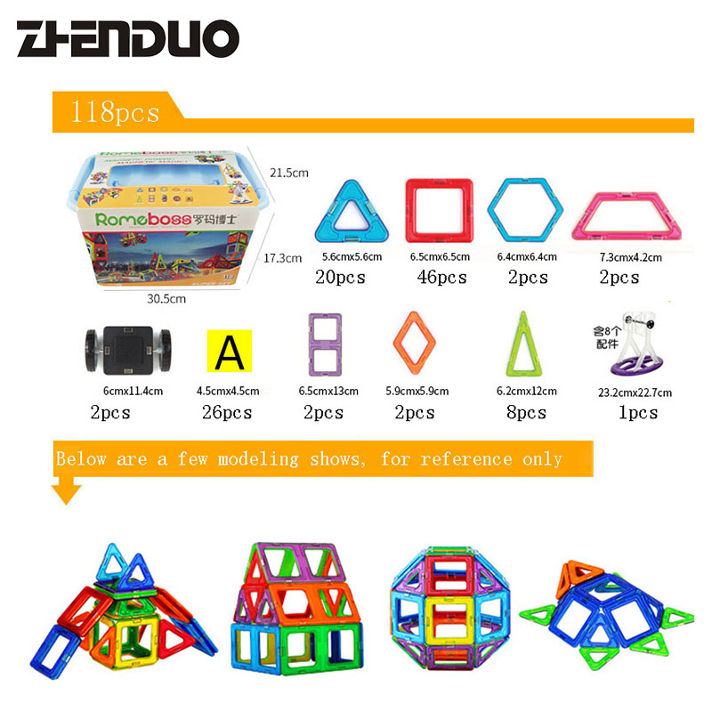 18pcs Models & Building Toy Magnetic Building Blocks Magnet Game Technic Bricks For Children Learning ball finding game ru bun lock children puzzle toy building blocks