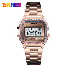 SKMEI Women Watches Drill Diamond Sport Watch Digital Alarm