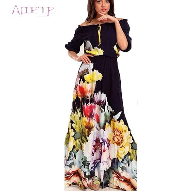 37ded819ee54 APOENGE floral maxi dress summer sundresses women off shoulder boho long  dress 2017 puff sleeve beach dresses vzomer jurk LZ217