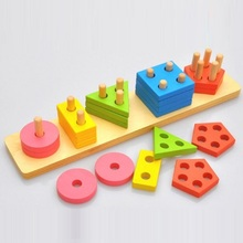 Fly AC Wooden Color Recognition & Shape Sorter, Colorful Geometric Board Sorting & Stack Chunky Puzzle Toys for Children