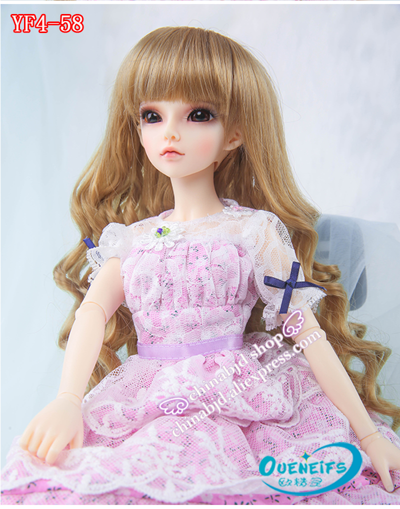 OUENEIFS free shipping girl pink long dress grenadine lace edge bowknot 1/4 bjd sd doll clothes no doll or wig karmart cathy doll 2 in 1 vitamin c tint tinted gluta gloss pink lip korea free shipping