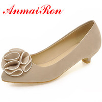 ANMAIRON Low heeled Pump 2018 Ladies Mature Wedding Fashion Women Pumps Pointed Toe Slip On Nubuck Leather Women Dress Shoes