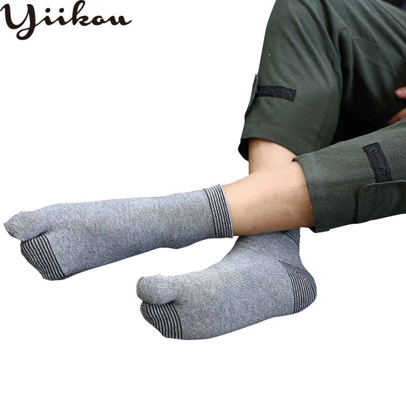 Men's Autumn And Winter Models In The Tube Socks Japanese Two-finger Socks  Students Big Toe Fashion Warm And Comfortable Soc