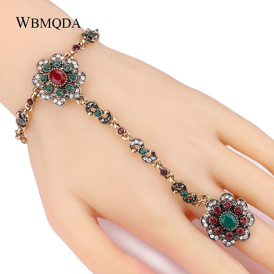 Kinel-Dubai-Jewelry-Sets-Bracelet-Link-Rings-For-Women-Antique-Gold-Color-Colorful-Resin-Crystal-Flower