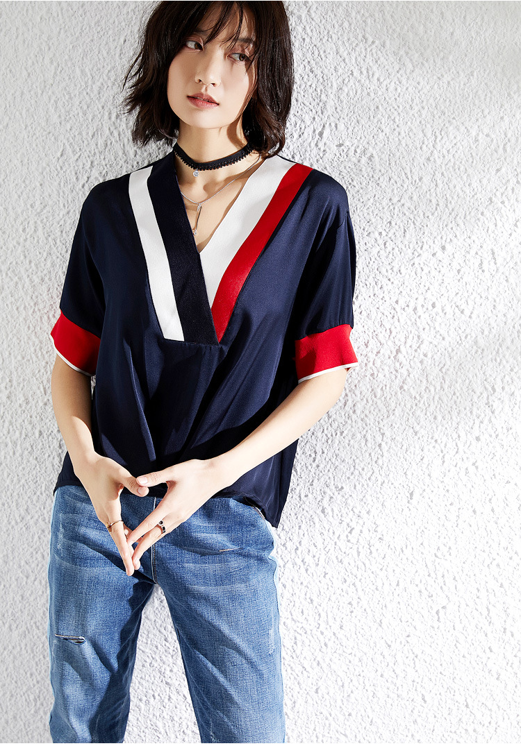 PIXY Heavy Silk V Neck T Shirt Women Summer Casual Loose Pullover White Ladies Tops Luxury Navy Blue Tee Shirts Street aesthetic