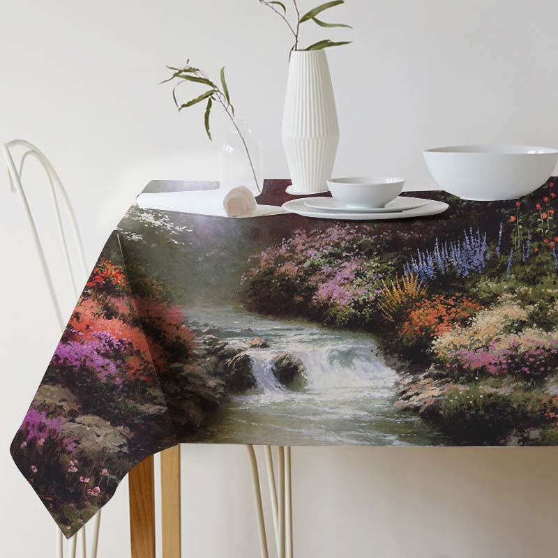 Thomas Kinkade Ink painting tablecloth Pastoral Landscape Tablecloth for table Home Protection decoration Elegant Table cover