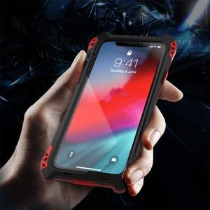 Image 5 - درع حقيبة لهاتف أي فون Xs Xs Max Xr X إطار معدني فاخر سيليكون الوفير الهجين للصدمات 360 حماية كاملة غطاء من ألياف الكربون