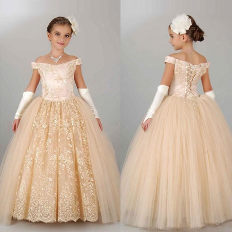 Flower Girl Pageant Lace Bridesmaid Formal Prom Kids Wedding Party Gown Dress