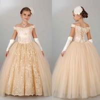 Роскошные дети Платье для девочек с цветочным узором Shoulderless подружки невесты Свадебная вечеринка платье бальное платье принцессы торжеств