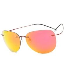 2017 Titanium Rimless Polarized Sunglasses Women Brand Designer Polaroid Pilot Men Coat Aviation Sun Glasses Eyewear Silhouett