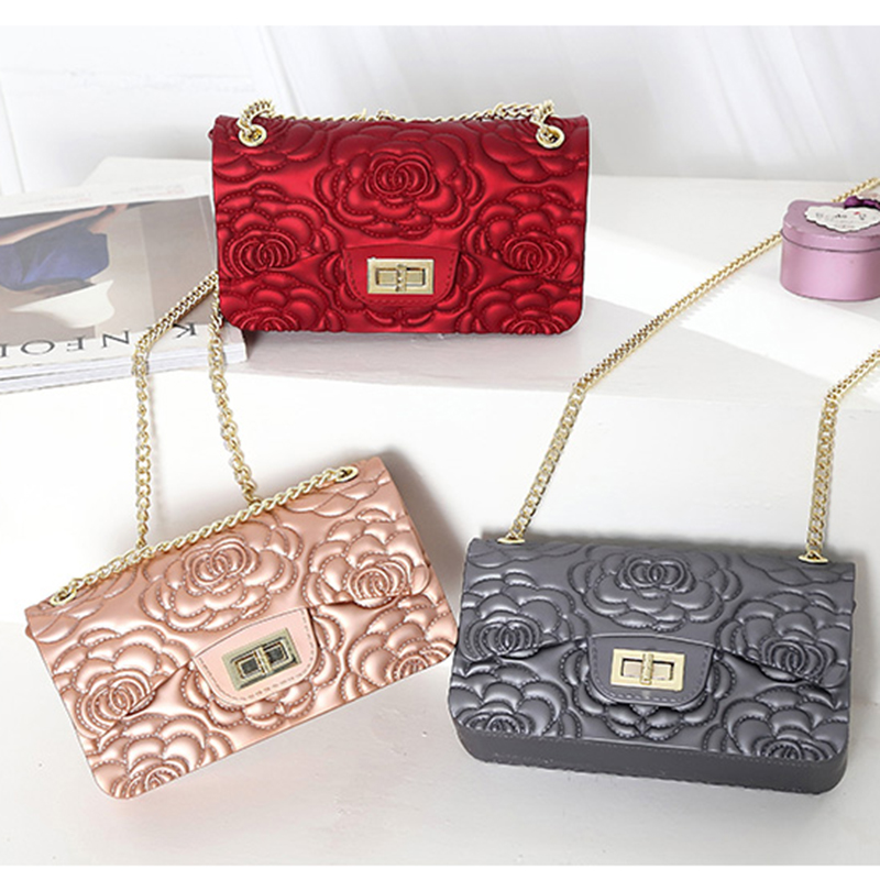 Women Messenger Bags High Quality PVC Silica Rose Transparent Jelly Bag Girl Beach Bag Fashion Chains Shoulder Crossbody Bags in Top Handle Bags from Luggage Bags