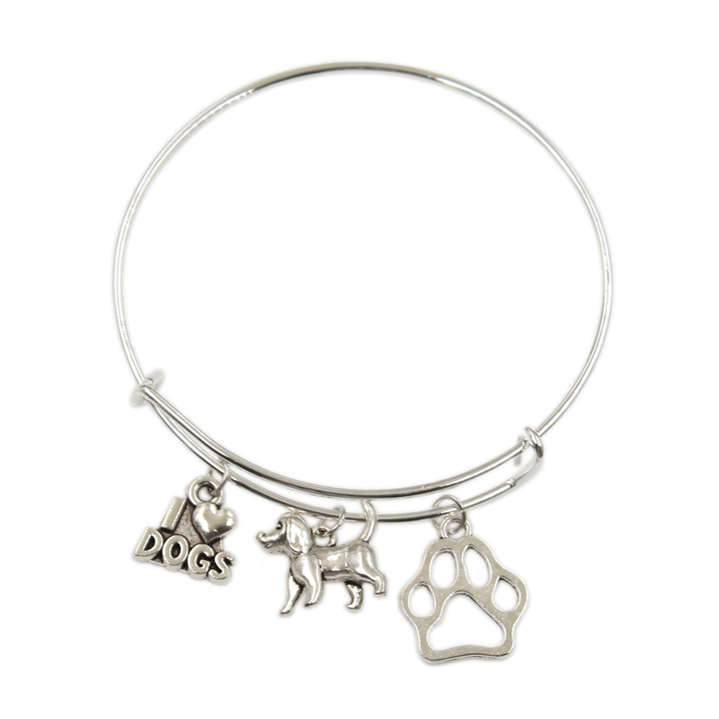 New Silver Color Metal Women Vintage I Love My <font><b>Dogs</b></font> <font><b>Dog</b></font> <font><b>Paw</b></font> <font><b>Dog</b></font> Bone Charms Accessory Men Bangles Jewelry Gifts image