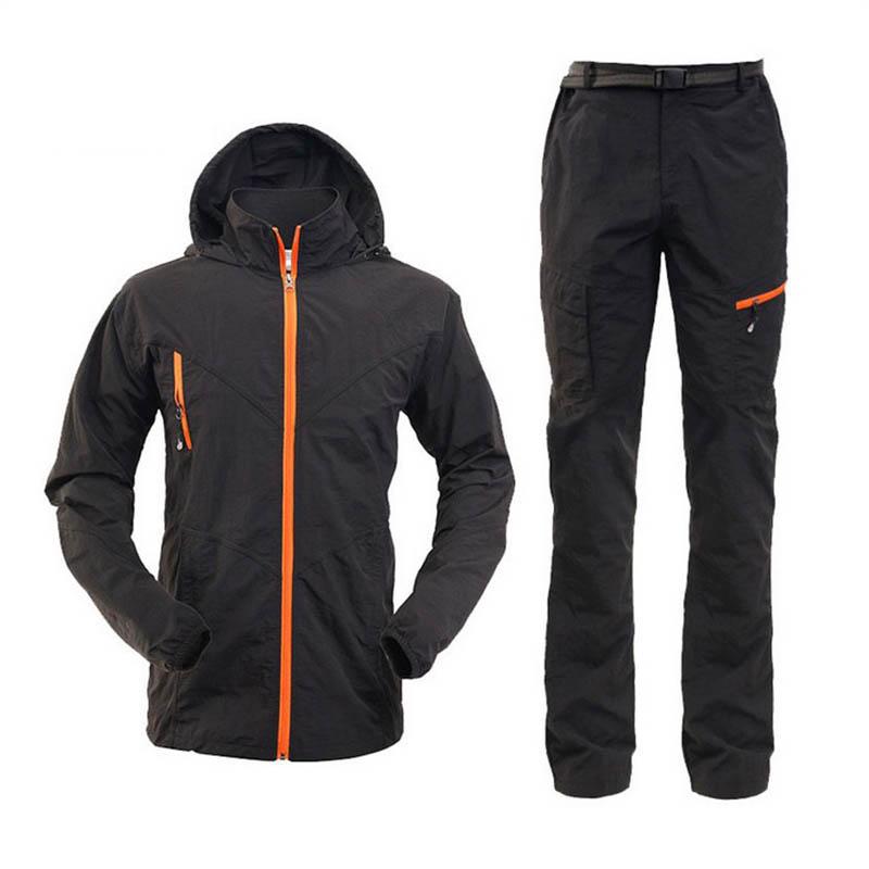 Mens Gyors szárító Anti-uv fényvédő kabát nadrág Könnyű halászati ruhák kültéri túrázás kempingkészletek férfiak hegymászó kerékpáros ruhák