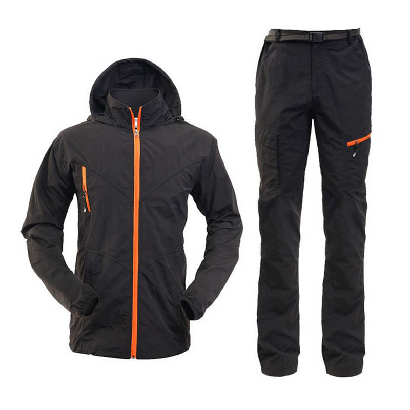 Mens יבש מהיר Anti-UV סנסקרין מעיל מכנסיים קלים דיג בגדים בחוץ טיולים רגליים קמפינג סטים גברים טיפוס רכיבה על אופניים חליפות