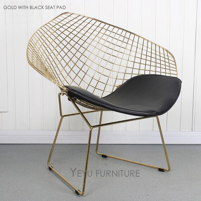 Rose Gold Or Gold Color Modern Design Harry Bertoia Diamond Wire Chair,  Diamond Metal Steel