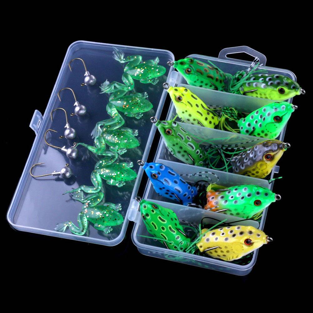 21 Pcs Soft Tube Pastic Fishing Lures Artificial Frog Lure Crankbait Topwater Baits Crankbait ALS88