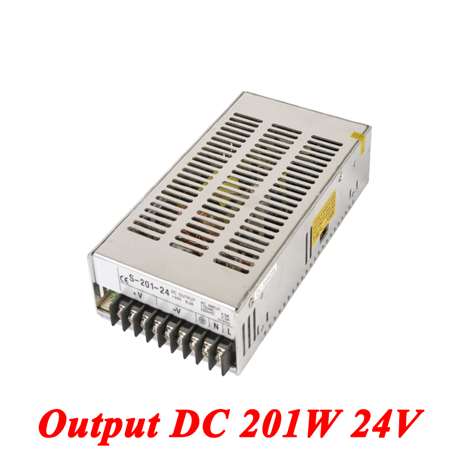 S-201-24 Switching Power Supply 201W 24v 8A,Single Output Ac Dc Converter For Led Strip,AC110V/220V Transformer To DC 24V s 201 5 201w 5v 40a single output ac dc switching power supply for led strip ac110v 220v transformer to dc 5v led driver