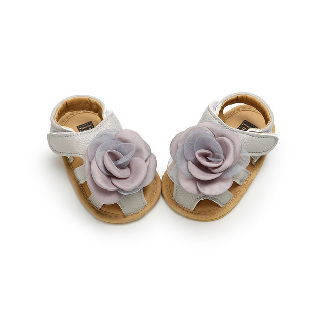 2019 Cute Flower Baby Girls Summer Sandals Infant Toddler Shoes Solid Sole Baby Girls First Step Shoes Bebe Moccasins PU Leather 3
