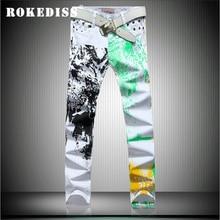 Весенние джинсы брюки мужчины жан брюки прямо Картина печати pantalones hombre вакеро Досуг брюки молния G200