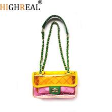 Women Plastic Messenger Handbag Transparent Laser Handbag Clutch Shoulder Crossbody Bag Chain Bag Clear Bag Evening Purse