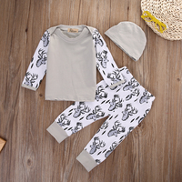 Christmas Infant Baby Boy Outfits Clothes Romper Pants Leggings Hat 3PCS Set