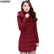 Winter Coat 2017 Woman Parkas Warm Down Cotton Jacket  Coat Hooded Medium Long Outerwear Plus Size Female Basic Coat YAGENZ K427