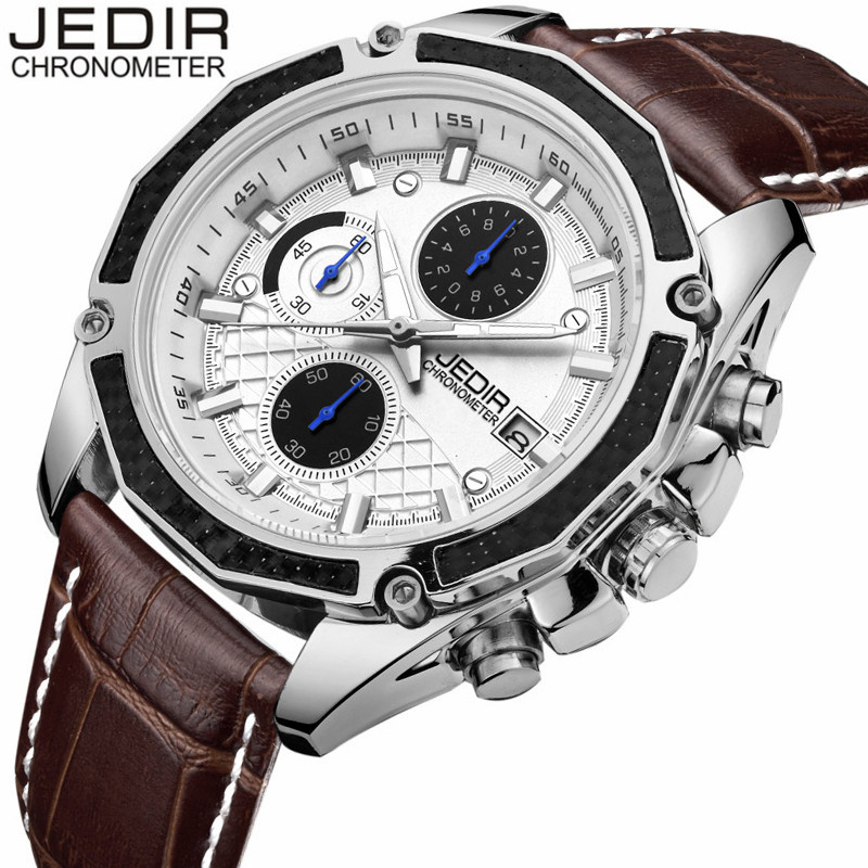JEDIR Male Quartz Watches Genuine Leather Watch Racing Men Game Run Chronograph Watch Man Glow Hands Clock relogio masculino