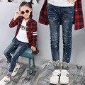 Otoño Pantalones de Mezclilla Pantalones Vaqueros Para Chicas Calidad Estupenda Niños Chica de Primavera Ropa Pantalones Otoño Niños Jeans Pantalones Leggings Copo de Nieve