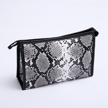 new fashion serpentine PU women Cosmetic bag cases casual folding make up travel organizer makeup case beauty