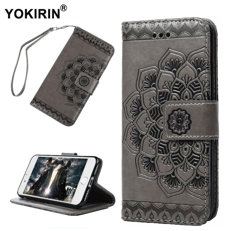 YOKIRIN Luxury Flip Leather Case For iPhone 7 3D Half Flower Pattern Wallet Coque + Phone Bag Silicone Back Cover For iPhone 7