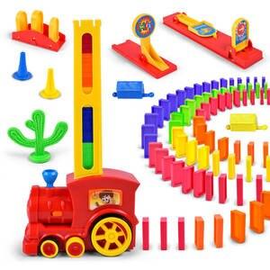 Toy Bricks Domino-Train Up-Blocks Plastic Motorized Colorful Kids Children for Car-Kit-Set
