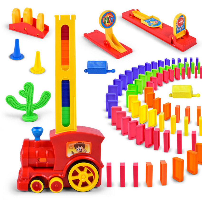 Motorized Domino Train Car Kit Set Up Blocks Elevator Springboard Bridge Set Colorful Bricks Plastic Toy Gift For Children Kids