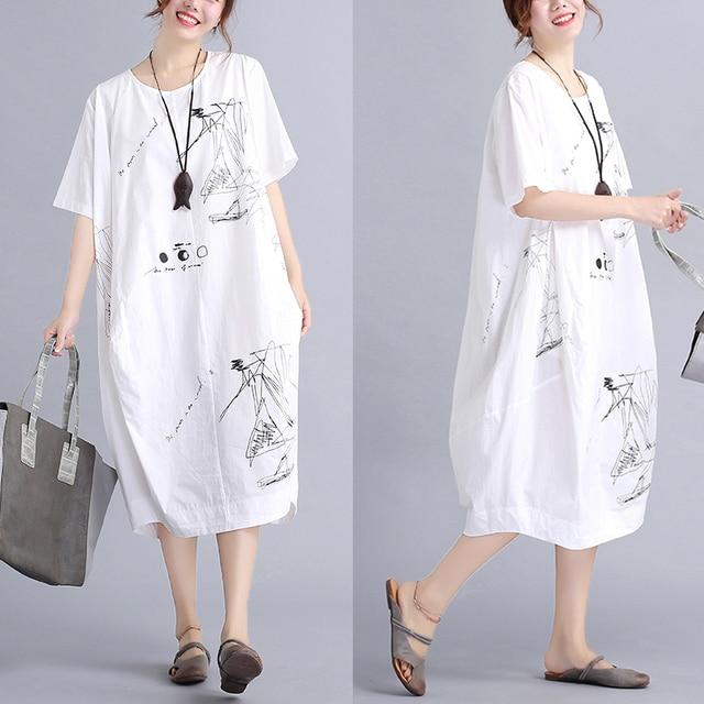 Us 24 99 2017 Musim Semi Musim Panas Baru Korea Pensil Sketsa Desain Lipat Katun Dress Plus Ukuran Longgar Kasual Dress Di Dresses Dari Pakaian