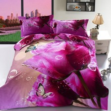 100%Cotton Bedding Set Duvet blue Bed Cover Set King queen Sizes Flowers Leaf Home Textiles 4pcs Luxury High-quality bed 35(China)
