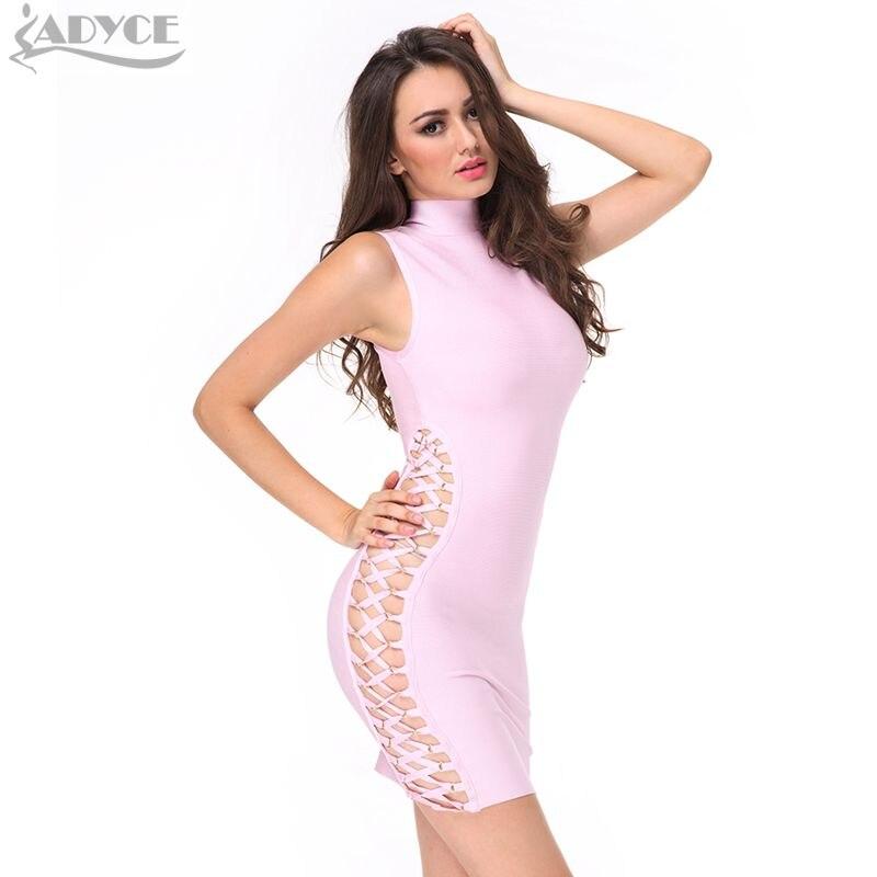 Adyce 2019 nieuwe zomer vrouwen runway bandage jurk roze zwart groen - Dameskleding - Foto 1