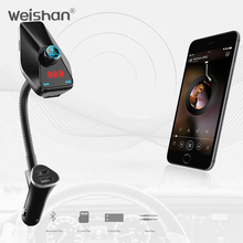 weishan New 2018 FM Transmitter Aux Modulator Bluetooth Handsfree Car Kit Car Audio MP3 Player with Charge Dual USB car charger