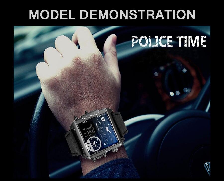 HTB18tOllZj B1NjSZFHq6yDWpXab BOAMIGO brand men sports watches 3 time zone big man fashion military LED watch leather quartz wristwatches relogio masculino