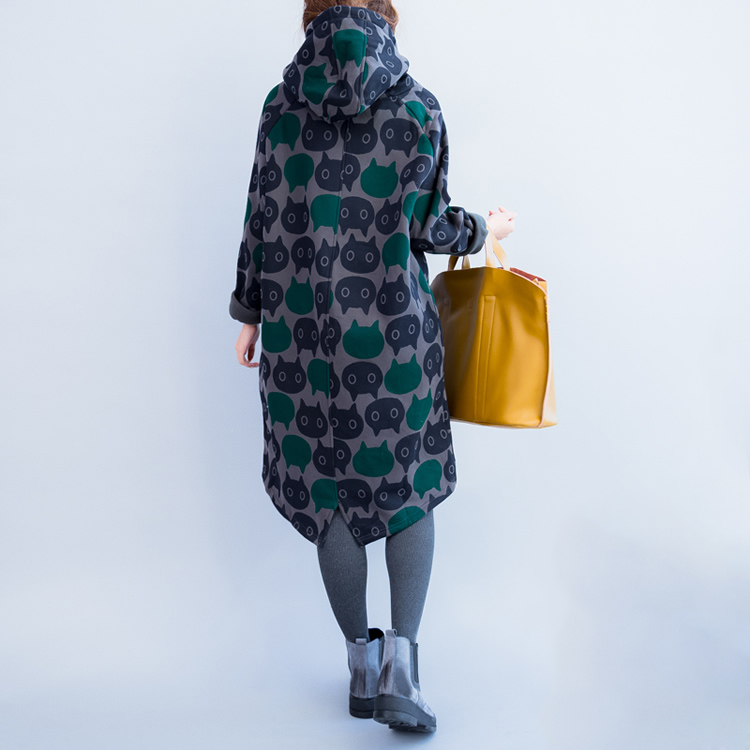 Plus Size Women Hoodies & Sweatshirts Winter Thickening Warm Cotton Fashion Female Cat Print Big Size Casual Turtleneck Dress 7