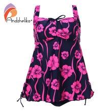 Andzhelika Bikini Plus Size Swimwear 2018 New Women Sexy Print flower Dress Swimsuit Two Piece Swim Beach Bathing Suit 3XL-7XL