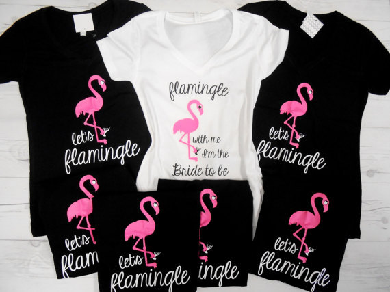 personalized Lets Flamingle Wedding Bride bridesmaid t shirts Bachelorette  party tanks tops company gifts party favors 167e0cb0fac5