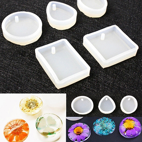 Silicone Round Square Teardrop Oval DIY Pendant Charm Mold Jewelry Making Tool ...