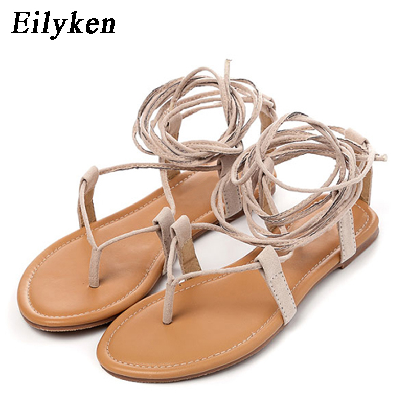 Eilyken Summer Roman Sandals Multiple Cross-Strap tall knee high Thong Nubuck Women Sandals Flip flops Black Apricot Brown