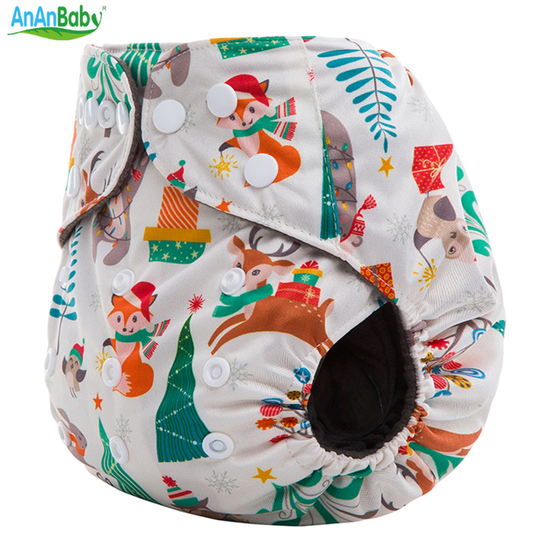 AnAnBaby Holiday Prints Bamboo Charcoal Baby Nappies Eco-Friendly Washable Cloth Diaper With Double Gussets For 3-15kg