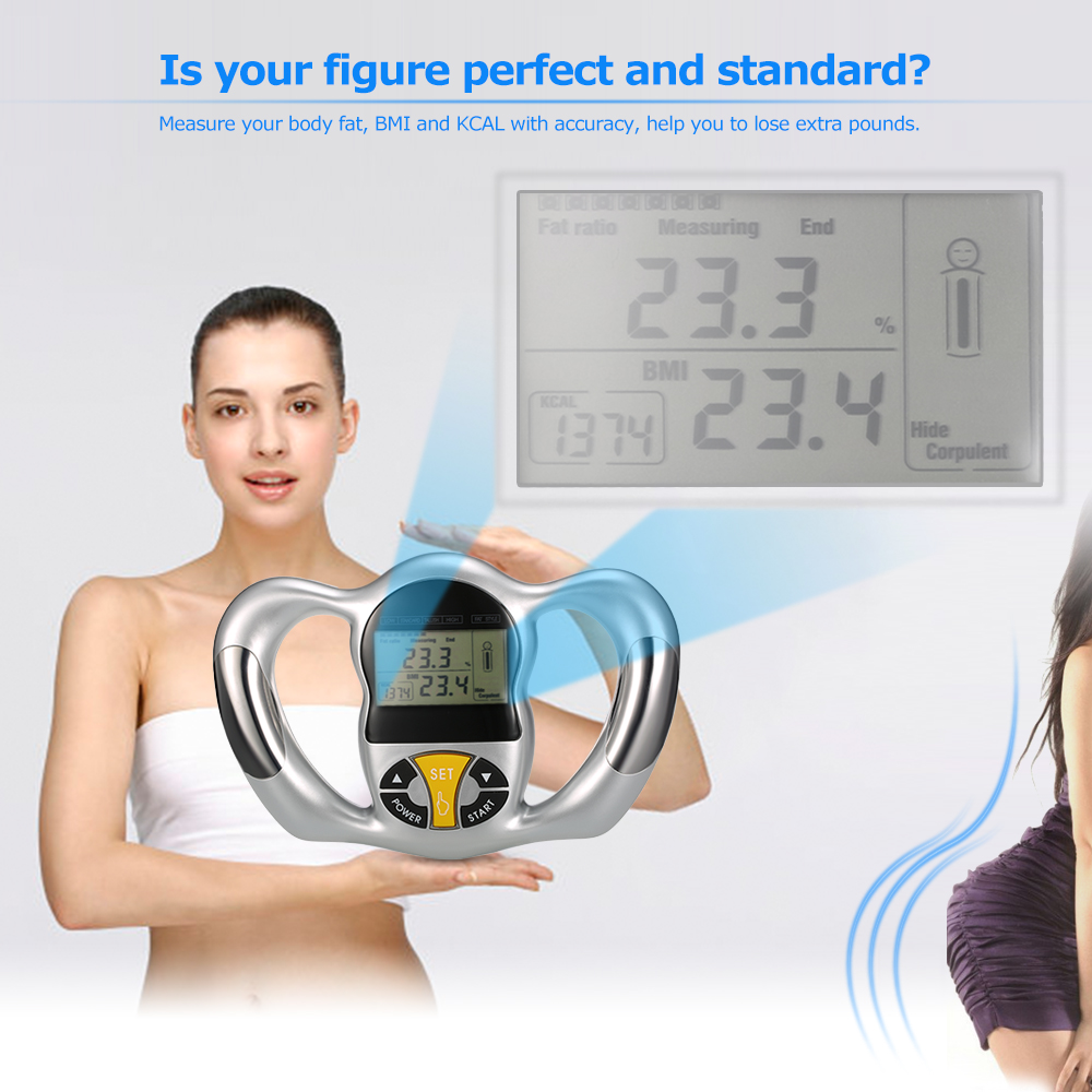 Digital LCD Screen Handheld Body Fat Monitor Health Analyzer BMI Tester Body Fat Meter Measurement Home Use Body Fat Monitors